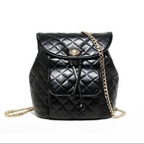 Bags Black Quilted Chain Backpack Purse Poshmark